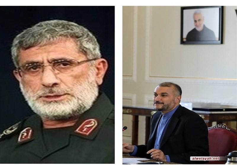 أمير عبداللهيان: قوة القدس لها دور كبير في دعم الأمن والسلام الإقليمي والدولي