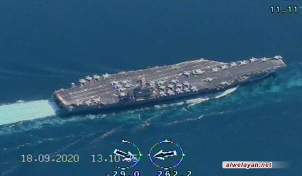 """بحرية الحرس الثوري: رصدنا حاملة الطائرات الأميركية """"نيميتز"""" بطائرات مسيرة محلية الصنع"""