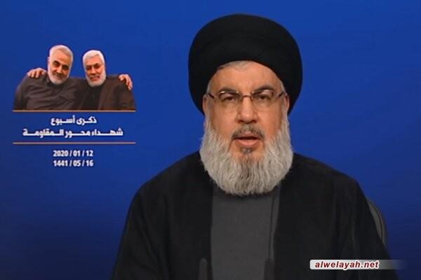 السيد نصر الله: الشهيد سليماني كان شريكا كاملا في تحرير لبنان في 25 أيار عام 2000