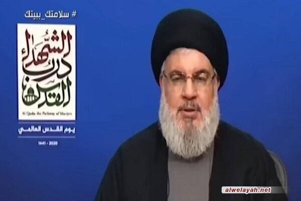 السيد نصر الله: نفتقد في يوم القدس القائد المجاهد الكبير الحاج قاسم سليماني